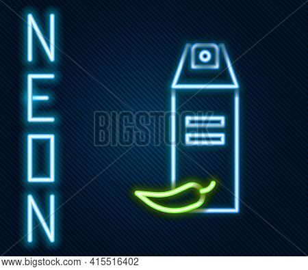 Glowing Neon Line Pepper Spray Icon Isolated On Black Background. Oc Gas. Capsicum Self Defense Aero