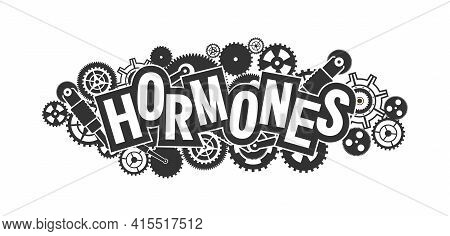 Vector Emblem Medical Concept, Relationship Of Hormones And Mechanism Of Action, Black White Isolate