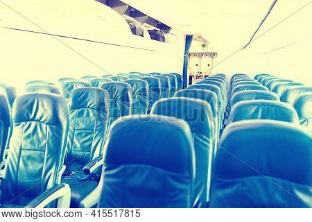 Empty Plane Interior With No People During Coronavirus Pandemia