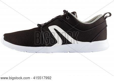 Black Airmesh Summer Walking Lightweight Shoe Isolated On White Background