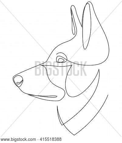 Dog Portrait In Continuous Line Art Drawing Style. German Shepherd Head Black Linear Sketch Isolated