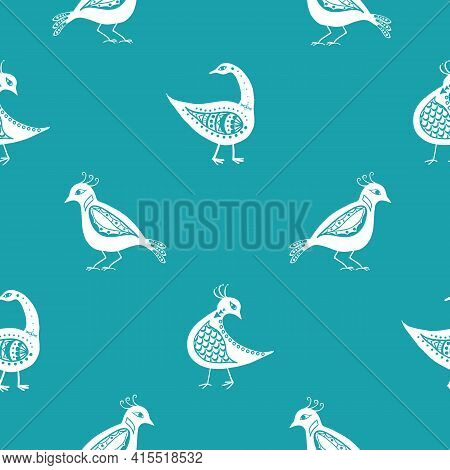Stylized Bird Seamless Vector Pattern Background. Inspired By Ancient Greek Pottery. Ornate White Bi