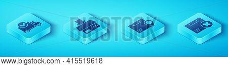 Set Isometric Delivery Truck With Check Mark, Carton Cardboard Box, Carton Cardboard Box And Delete