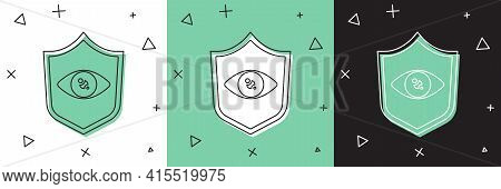 Set Shield Eye Scan Icon Isolated On White And Green, Black Background. Scanning Eye. Security Check