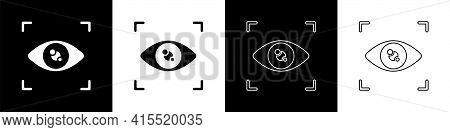 Set Eye Scan Icon Isolated On Black And White Background. Scanning Eye. Security Check Symbol. Cyber