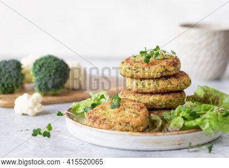 Vegan Burgers With Quinoa, Broccoli, Cauliflower Served With Salad. Healthy Vegan Food Concept. Copy