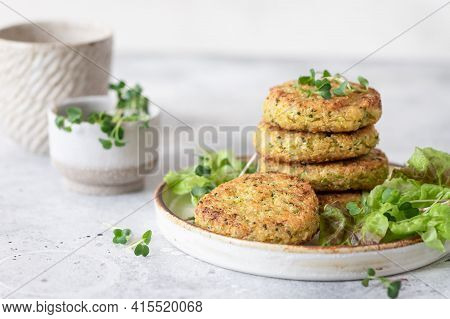 Veggie Quinoa Burgers With Lettuce And Microgreens. Plant Based Food. Space For Text