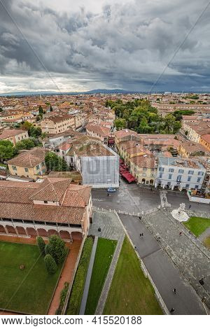 View Of Town From The Top Of The Leaning Tower In Pisa, Italy