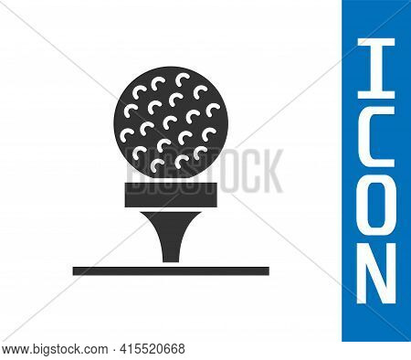 Grey Golf Ball On Tee Icon Isolated On White Background. Vector