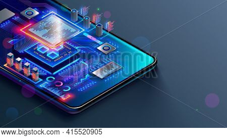 Cpu Of Phone. Microchip, Smd Electronic Components Of Mobile Device On Circuit Board Or Motherboard.