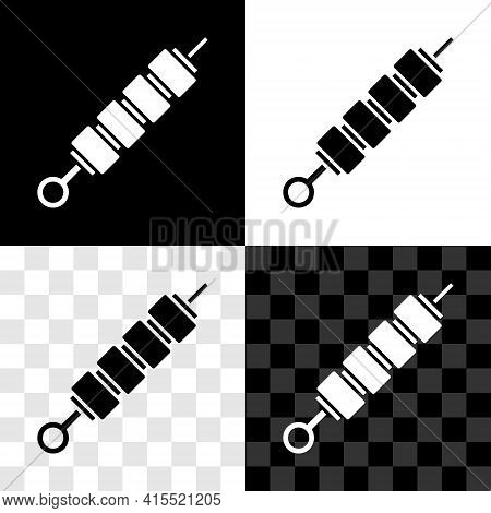 Glowing Neon Grilled Shish Kebab On Skewer Stick Icon Isolated On Black Background. Meat Kebab On Sk