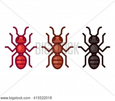 Vector Ant Icon Or Logo. Cartoon Red, Black And Brown Ants. Simple Flat Design Illustration.