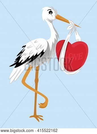 Cartoon Vector Clipart Ot The Stork Holding Heart In Its Beak. Tall Bird Delivering Love, Isolated O
