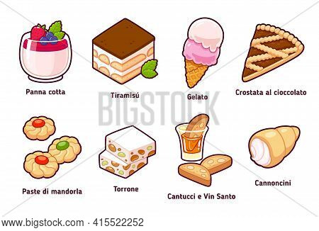 Traditional Italian Desserts And Pastries With Names In Italian. Simple Cartoon Drawing Set. Isolate