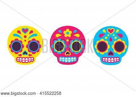 Mexican Dia De Los Muertos (day Of The Dead) Sugar Skull Icons. Cute Cartoon Illustration Set In Fla