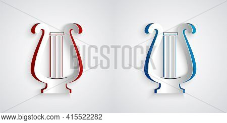 Paper Cut Ancient Greek Lyre Icon Isolated On Grey Background. Classical Music Instrument, Orhestra