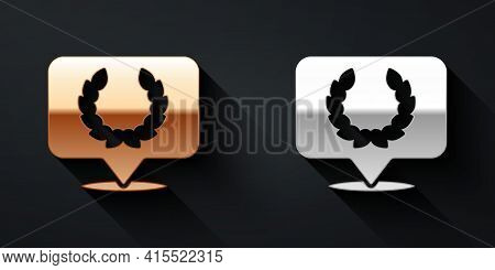 Gold And Silver Laurel Wreath Icon Isolated On Black Background. Triumph Symbol. Long Shadow Style.