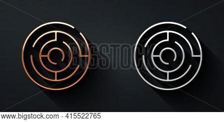 Gold And Silver Minotaur Maze Or Labyrinth Icon Isolated On Black Background. Ancient Greek Mytholog