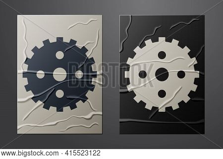 White Bicycle Sprocket Crank Icon Isolated On Crumpled Paper Background. Paper Art Style. Vector