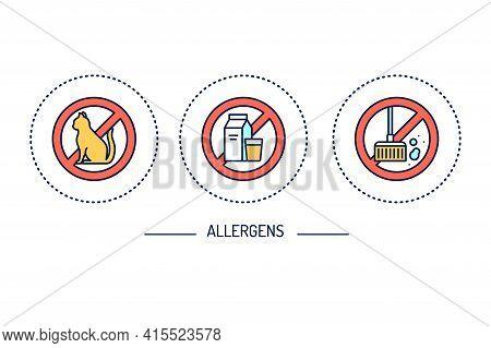 Allergens Line Color Icons Set. Gluten Free, Dust, Cat Allergy.