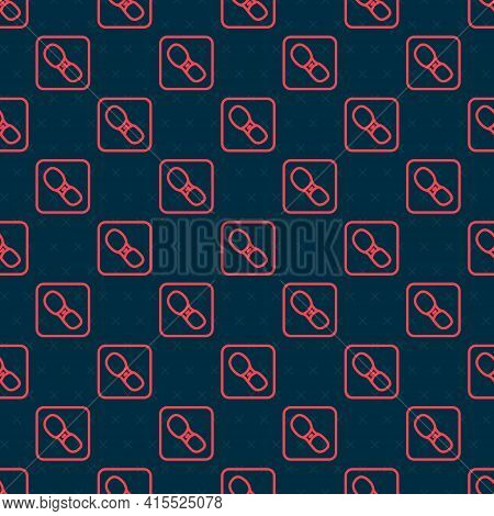 Red Line Human Footprints Shoes Icon Isolated Seamless Pattern On Black Background. Shoes Sole. Vect