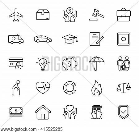 Insurance Outline Vector Icons Isolated On White. Insurance Icon Set For Web And Ui Design, Mobile A