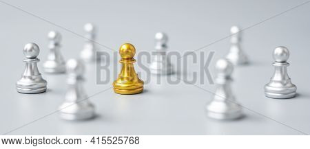 Golden Chess Pawn Pieces Stand Out Of People. Different, Unique, Individual And Social Distancing Pr