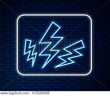 Glowing Neon Line Zeus Icon Isolated On Brick Wall Background. Greek God. God Of Lightning. Vector