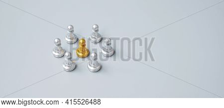 Golden Chess Pawn Pieces Or Leader  Leader Businessman With Circle Of Silver Men. Leadership, Busine