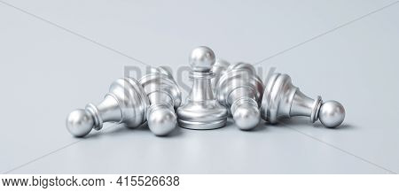 Silver Chess Pawn Figure Stand Out From Crowd Of Enermy Or Opponent. Strategy, Success, Management,