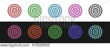 Set Line Bicycle Cassette Mountain Bike Icon Isolated On Black And White Background. Rear Bicycle Sp
