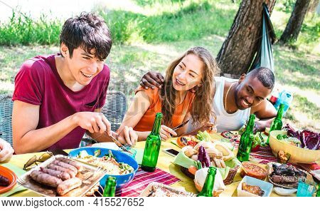 Happy People Having Fun Together At Barbecue Picnic Party - Young Multiracial Friends At Pic Nic Soc