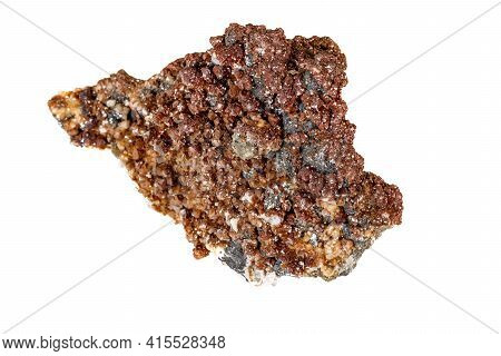 Macro Stone Calcite Mineral On A White Background