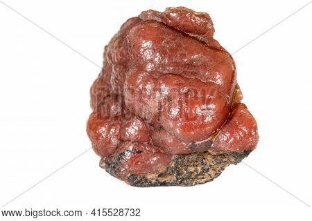 Macro Stone Cobalt Calcite Mineral On White Background