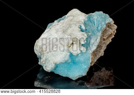 Macro Stone Cobalt Calcite Mineral On A Black Background