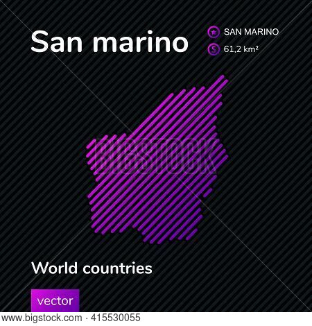 Vector Creative Digital Neon Flat Line Art Abstract Simple Map Of San Marino With Violet, Purple, Pi