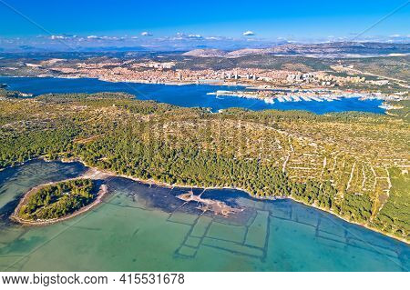 Sibenik. Aerial Panoramic View Of Town Of Sibenik, Archipelago Of Dalmatia Region In Croatia