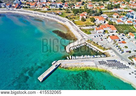 Island Of Vir Beach And Waterfront Aerial View, Dalmatia Region Of Croatia
