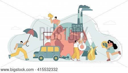 Air Pollution With Co2 Gas. Increase In Ambient Temperature. The Greenhouse Effect. Salvation Of The