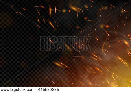 Fire. Fire Sparks Flying Up On Transparent Background. Smoke And Glowing Particles On Black. Realist
