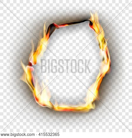 Burning Torn Hole In Paper Sheet With Brown Edges And Flames . Vector Realistic Illustration On Tran