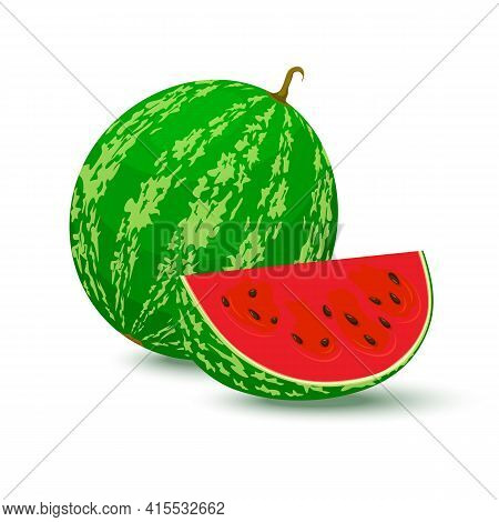 Watermelon Vector. Whole Watermelon And Juicy Watermelon Slice Vector Illustration In Flat Design Is