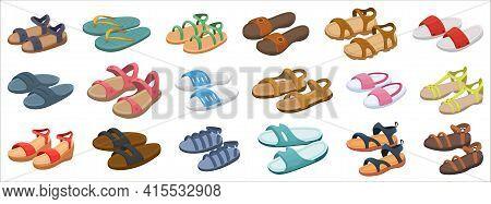 Fashion Sandal Vector Illustration Set On White Background . Summer Shoe Of Sandal Cartoon Vector Se