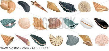 Shell Vector Cartoon Set Icon. Vector Illustration Set Shell Sea. Isolated Cartoon Icon Seashell On