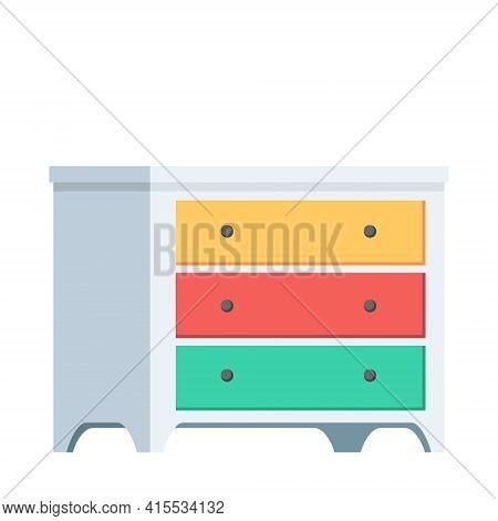 Cartoon Isolated Object Furniture Wardrobe Closet Illustration