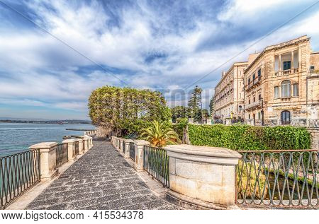 Syracuse Sicily/ Italy -april 11 2020: The Alfeo Seafront And Source Aretusa