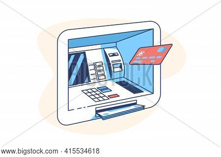 Plastic Credit Card And Atm Machine Vector