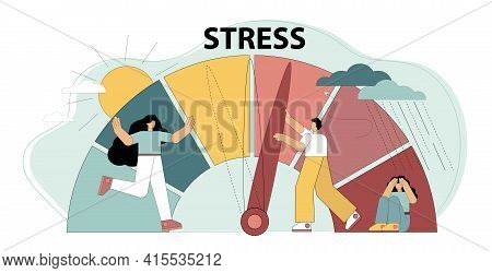 Stress Concept. Emotional Overload. Stress Levels Are Reduced Through The Concept Of Problem Solving
