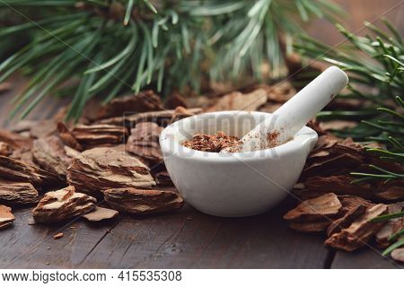 Mortar Of Powdered Pine Bark, Branches Of Evergreen Pine Tree And Dry Pine Bark On Wooden Board.