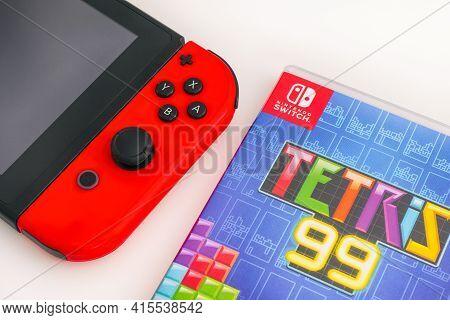 Tambov, Russian Federation - January 01, 2021 Tetris 99 Video Game Box And Nintendo Switch Video Gam